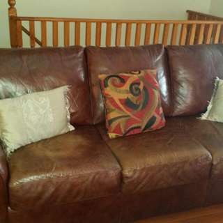 Brown Leather Couch And Seat Set