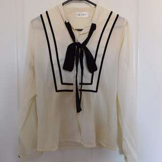 Black and white Ribbon Blouse size 8-10