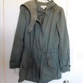 Miss Shop khaki hooded coat size 8