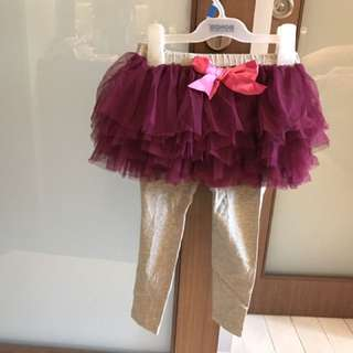 NWT tutu tulle skirt with attached leggings
