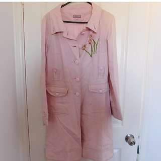 Pink long coat size 10/M