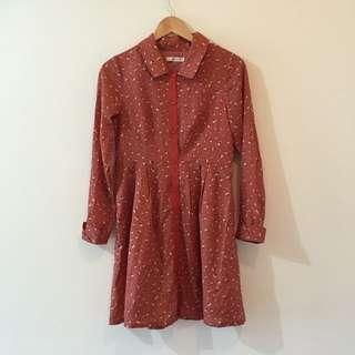 Klein Plus 橘色棉花圖案洋裝