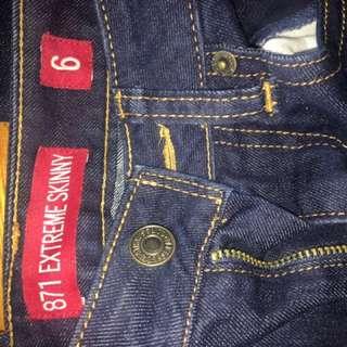 Levi Extreme Skinny 871 Jeans. Size 6