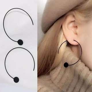 [孬飾品]簡約藝術線條設計圓圈圈圈鐵片非主流耳環