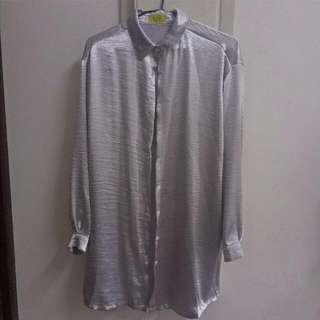 銀色長版襯衫