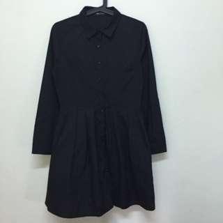 🌲3件八折🌲黑色長袖襯衫連身裙