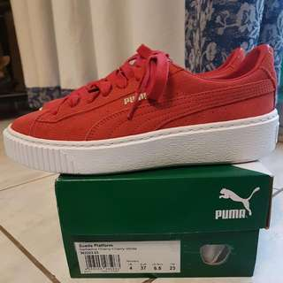Puma Red Suede Platform Shoes Size 6.5