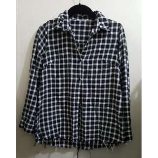 Gingham Frayed Shirt
