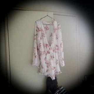 White Playsuit With Pink Flowers Low Cut