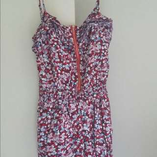 Red White And Blue Playsuit With Zipper At the Front