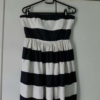 Forever21 Dress Striped Strapless Fits M
