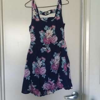 Dark Blue Dress With Pink/purple Flowers.