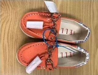 全新美國帶回 ELLE 真品 女童帆船鞋 16cm 保證真品 便宜出清 橘色