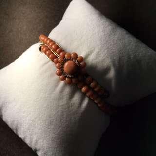 維多利亞時代古董珊瑚手環