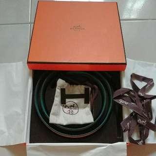 Hermes Men Size 85 Dual-tone Reversible Brown And Blue Belt