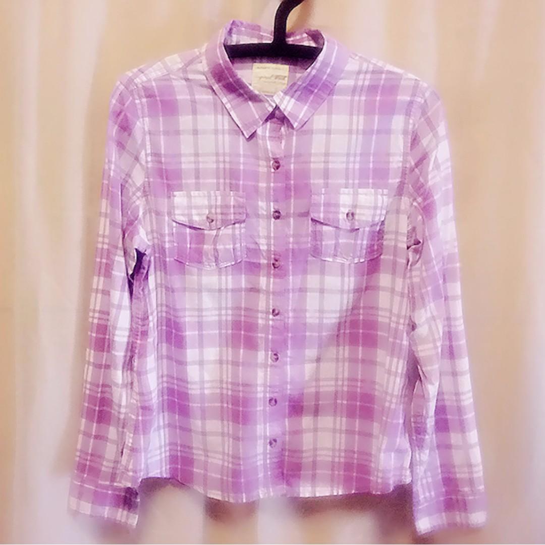 #16 薰衣草紫 L碼格紋女襯衫