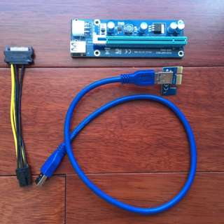 READYSTOCK BEST QUALITY USB 3.0 RISER 6 PIN POWER