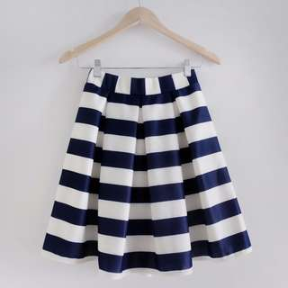 NEW Navy and White Striped Skirt