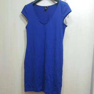 H&M 合身寶藍色素面洋裝