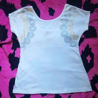 FRAGILE White Cotton Low Back Top