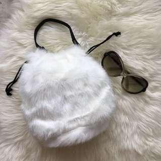 Brand New White Furry Bucket Handbag