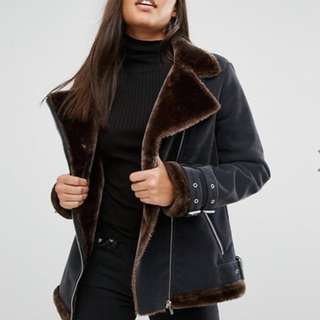 Missguided black and brown faux fur lined aviator jacket