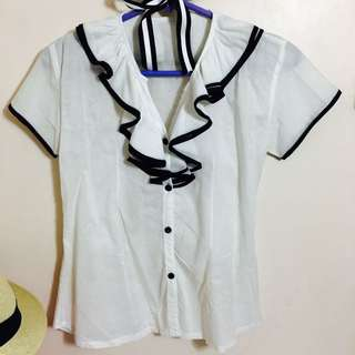 White Button-down With Ruffled Collar Top