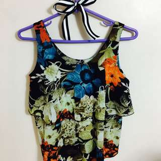 Sleeveless Two-layer Floral Ruffled Top