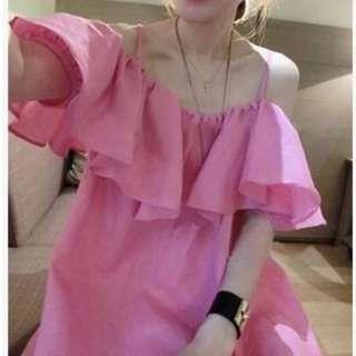 正韓夏-性感大碼時尚-甜美風格洋裝-3XL. 枚紅色