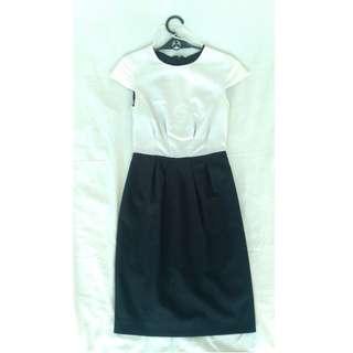 Mango Black and White Corpo dress