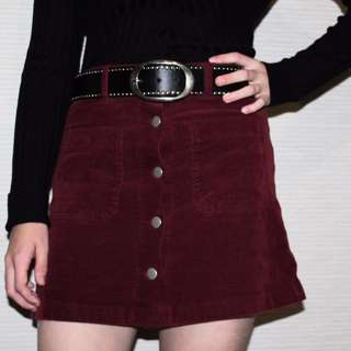 Vintage Corduroy Maroon Skirt