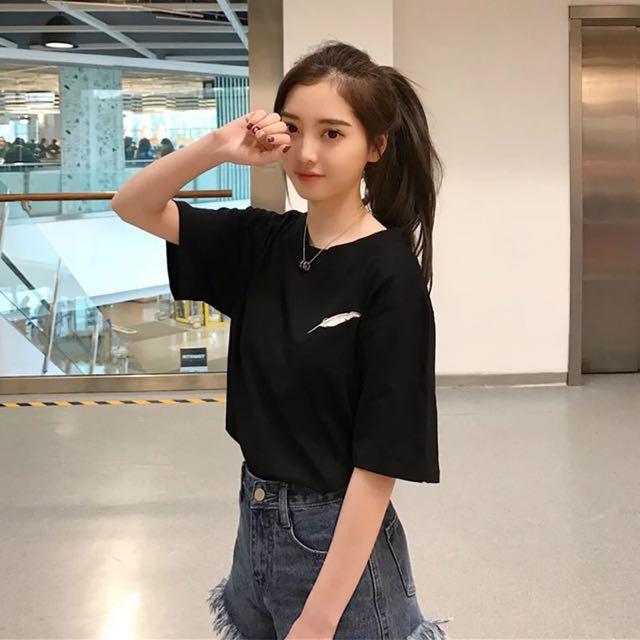 追加款🎀2017夏裝新款韓版寬鬆羽毛刺繡短袖T恤衫女純色百搭圓領學生上衣