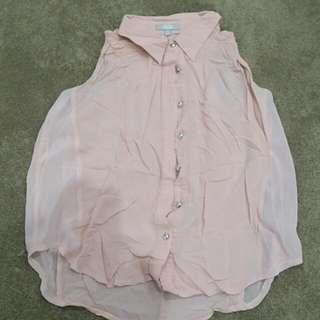 Pale pink chiffon top