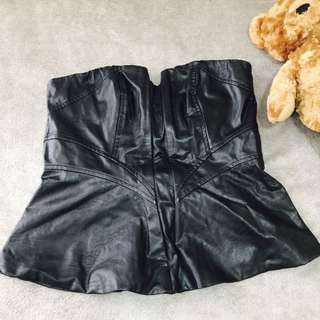 ALLY Faux Leather Tube Top