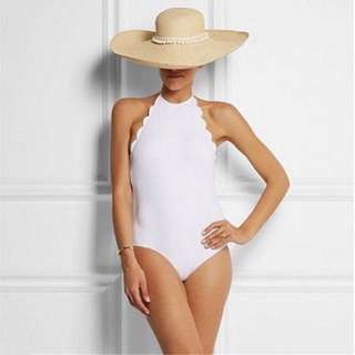 White Scallop One-Piece Swimsuit