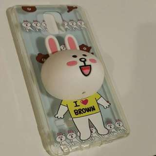 Line Cony Case with Earphones Holder Samsung Galaxy Note 4