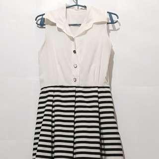 Navy Striped Korean Dress