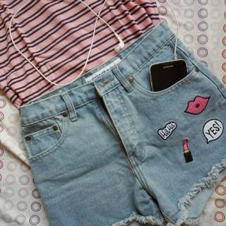 Next  Patched High Waisted Shorts