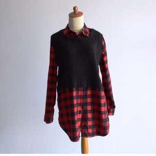 Kemeja Flannel rajut - Red Checkered
