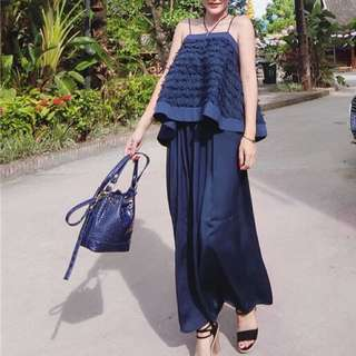 (More Cols) Feather Detail Decorated TOP And Wide Leg Culotte Set