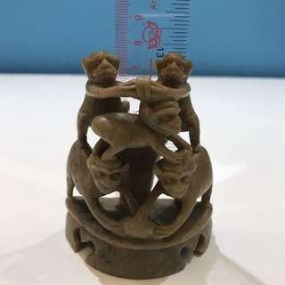 和田玉 舊工五代封猴 估計是明青朝代