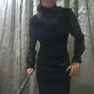Turtleneck Velvet Dress w/ seethrough details