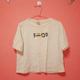 可愛刺繡食物短版短袖上衣t恤