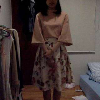 Beige Flower Skirt