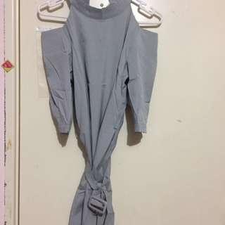 Korean Style, Exposed Shoulder Grey Smock/ Dress