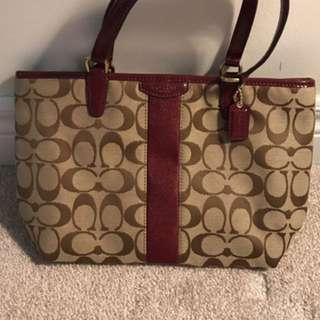Brown And Maroon Coach Handbag