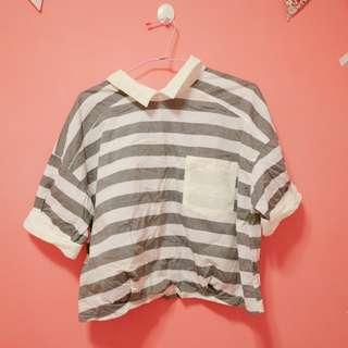 短版灰色條紋襯衫