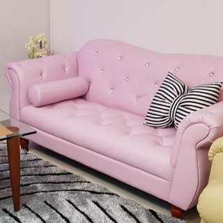 Pink 2-Seater Sofa (PU LEATHER)