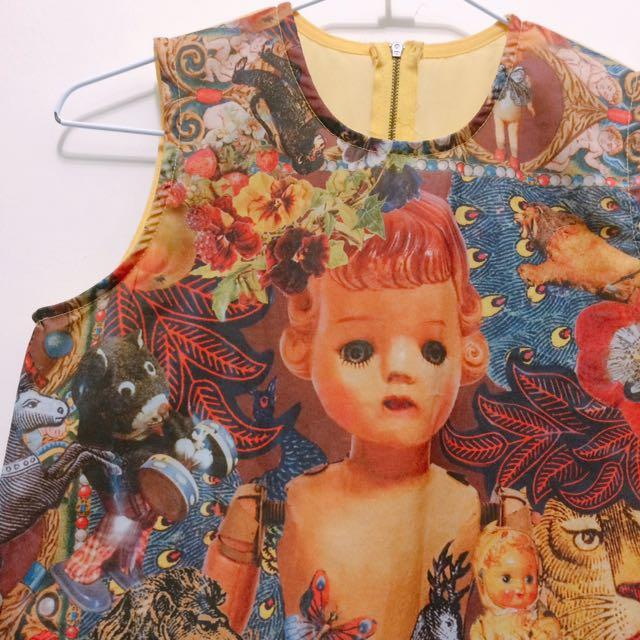 詭異娃娃拼貼無袖上衣