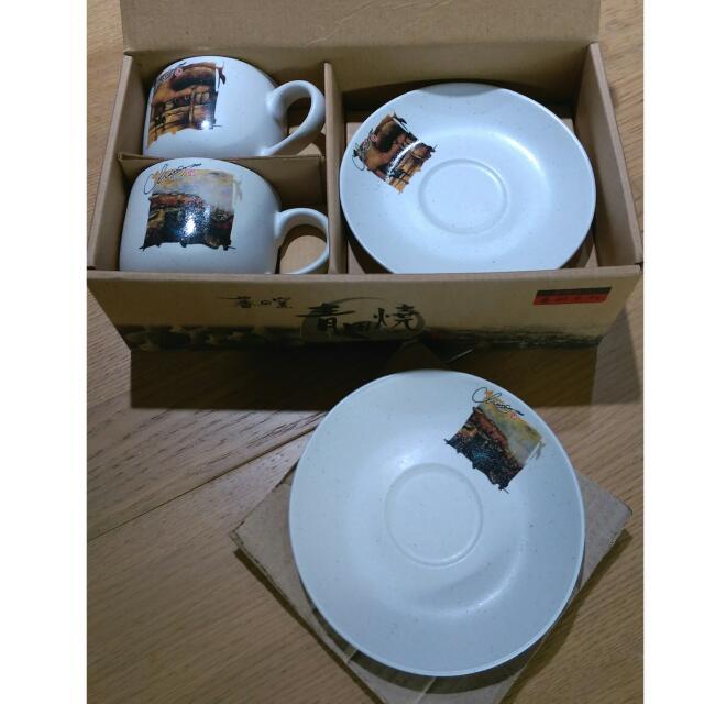 全新 對杯組 咖啡杯盤組 青田燒 食器文化 藝術系列 游守中 作品